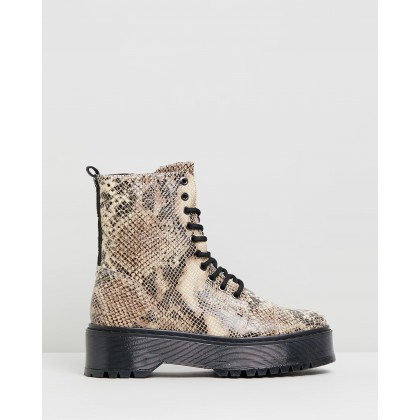 Rifka Super Chunky Snake Ankle Boots Cappuccino by Bronx