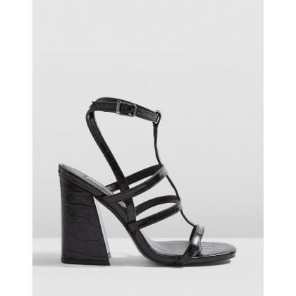 Riley Cage Croc Heels Black by Topshop