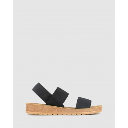 Rise Elastic Low Wedge Sandals Black by Betts