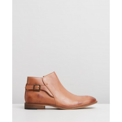 Ronnie Leather Buckle Boots Tan by Double Oak Mills