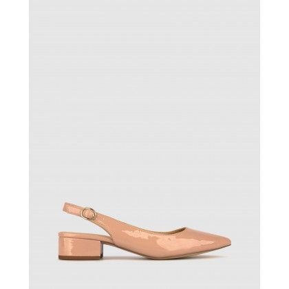 Rookie Pointed Toe Block Heel Pumps Dark Blush Patent by Betts