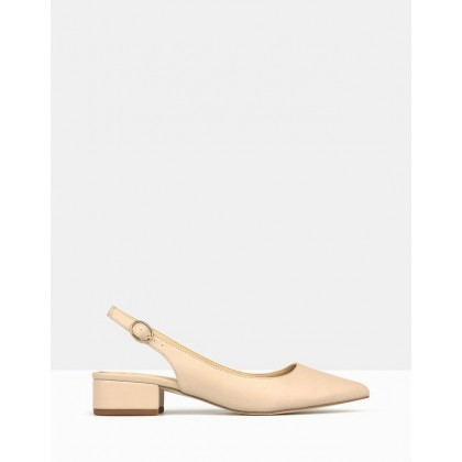 Rookie Pointed Toe Block Heel Pumps Nude by Betts