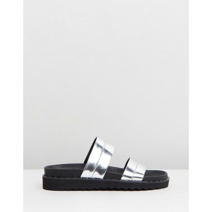 Rosa Slides Metallic Silver by Sol Sana