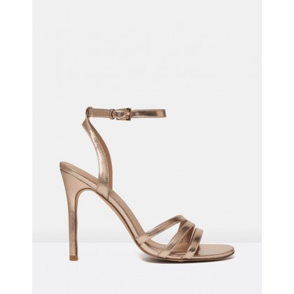 Rosanna Asymmetric Stiletto Heels Rose Gold by Forever New