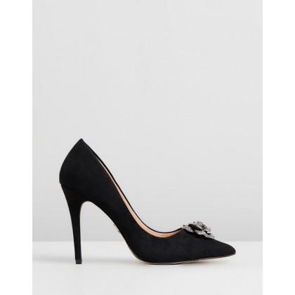 Rose Jewel Trim Court Heels Black by Lipsy