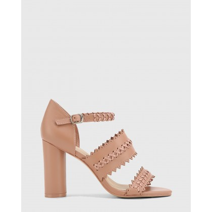 Roslyn Leather Open Toe Block Heel Sandals Pink by Wittner