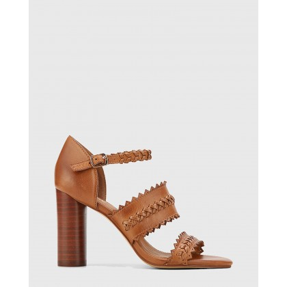 Roslyn Leather Open Toe Block Heel Sandals Brown by Wittner