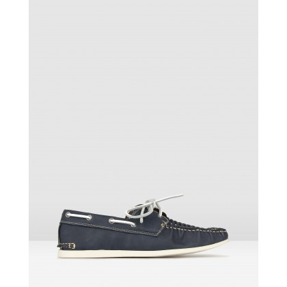 Row Woven Boat Shoes Navy by Betts