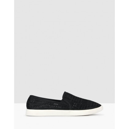 Roy Perforated Slip On Loafers Black by Betts