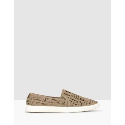 Roy Perforated Slip On Loafers Taupe by Betts
