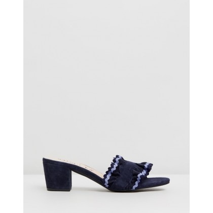 Ruffle Nubuck Heels Navy by Walnut Melbourne