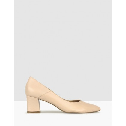 Rush Leather Block Heel Pumps Nude by Airflex