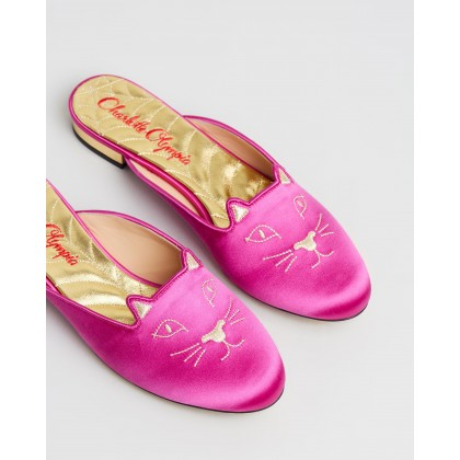Sabot Kitty Mules Fuchsia & Gold by Charlotte Olympia