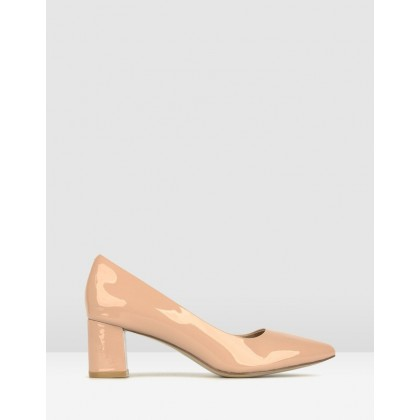 Sabrina Block Heel Pumps Blush Patent by Airflex
