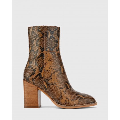 Sahara Snake Printed Leather Block Heel Ankle Boots Prints by Wittner