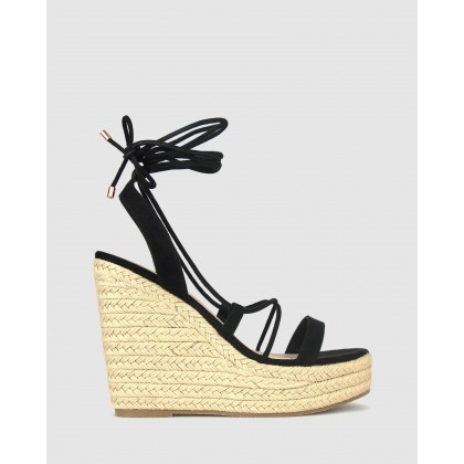 Saint Wedge Platform Sandals Black Micro by Betts