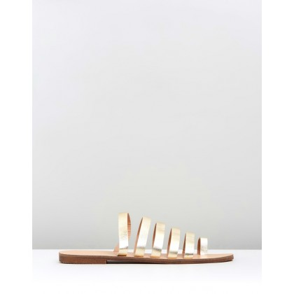 Sandra Strap Leather Slides Soft Gold Leather by Atmos&Here