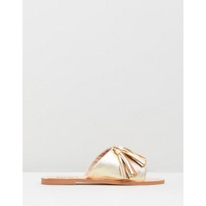 Sara Leather Slides Gold by Walnut Melbourne