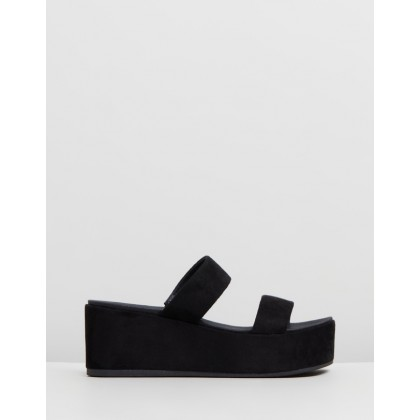 Sari Wedges Black Microsuede by Dazie