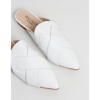 Sasha Pebble Woven Mules White by Walnut Melbourne