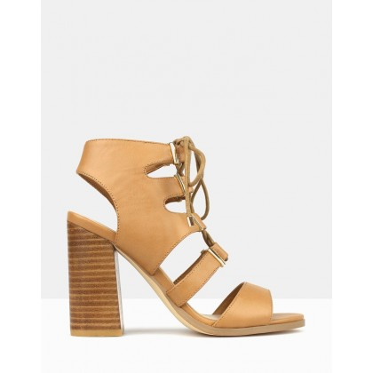 Savage Corset Lace Up Block Heel Sandals Tan by Betts