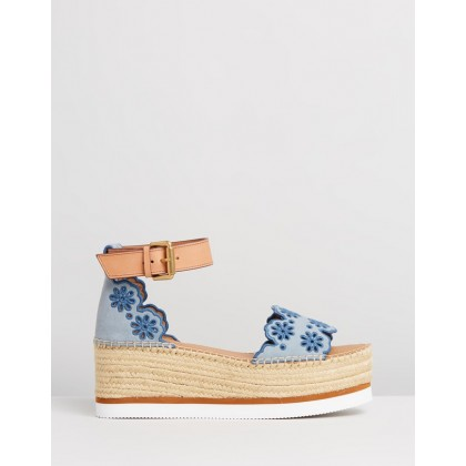 Scalloped Edge Flatforms DENIM by See By Chlo??