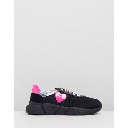Scuba Heart Sneakers Black & Pink by Love Moschino