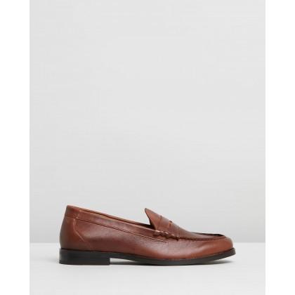 Sebastian Leather Penny Loafers Brown by Double Oak Mills