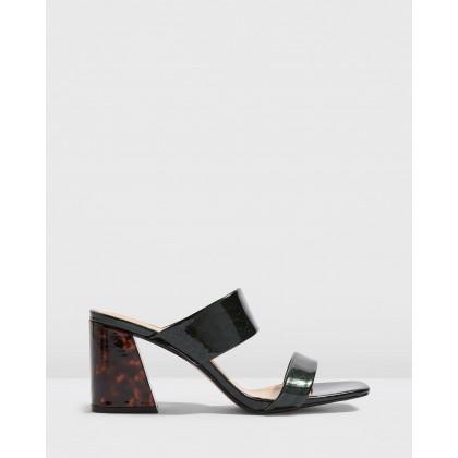 Selina Tortoiseshell Heel Sandals Green by Topshop
