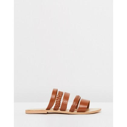 Seneca Slide Sandals Brown Leather by Office