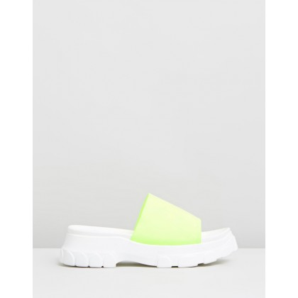 Serious Flatform Slides Lime Green by Dazie