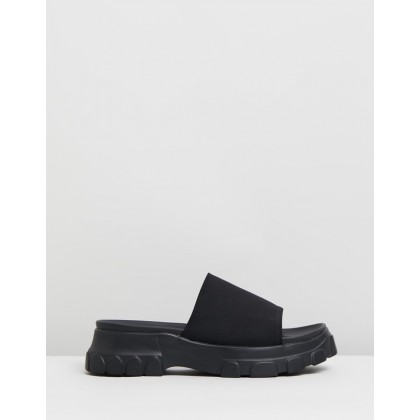 Serious Flatform Slides Black by Dazie