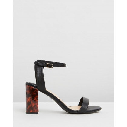 Shimmer Block Heels - Wide Fit Black by Dorothy Perkins