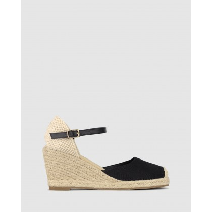 Sicily Wedge Espadrilles Black Canvas by Betts