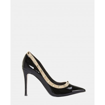Sierra BLACK PATENT/NUDE by Pink Inc