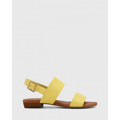 Sistine Leather Flat Sandals Yellow by Wittner