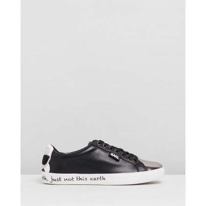 Skool Ikon Counter Lo Sneakers Black Leather by Karl Lagerfeld
