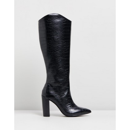 Skylar Boots Black Croc by Therapy