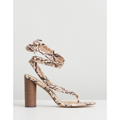 Snake Wrap Block Heels Nude by Missguided