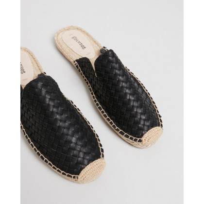 Sofia Woven Espadrille Mules Black by Soludos