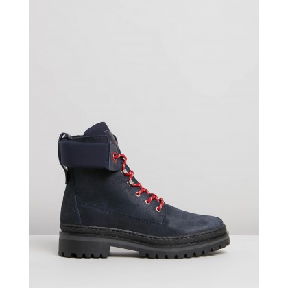 Sporty Outdoor Lace-Up Booties Navy Blazer by Tommy Hilfiger