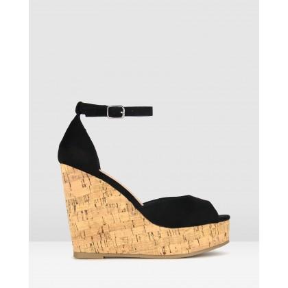 Stack Cork Platform Sandals Black by Betts