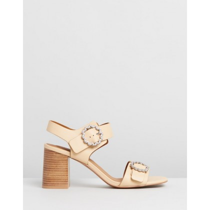 Stacked Block Heel Sandals Beige by See By Chlo??