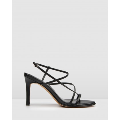 Stella High Heel Sandals Black Leather by Jo Mercer