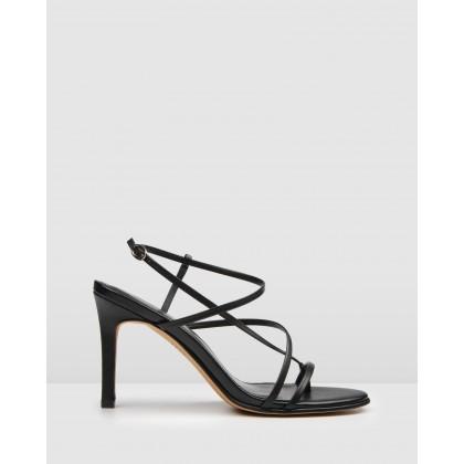 Stella High Heel Sandals Black Leather by Jo Mercer