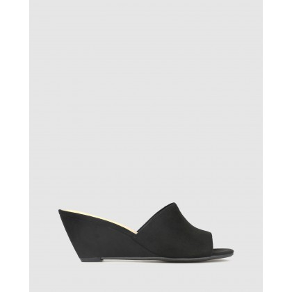 Stevie Wedge Heel Mules Black Micro by Betts