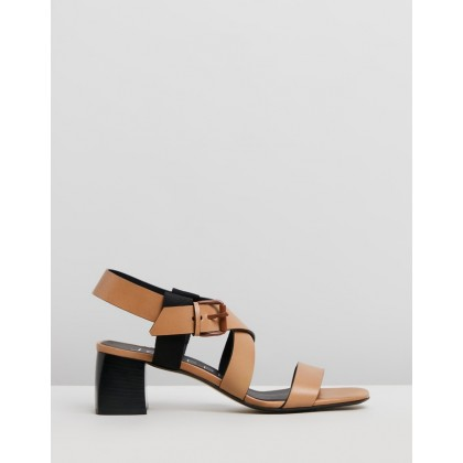 Strap Block Heel Sandals Camel by Joseph