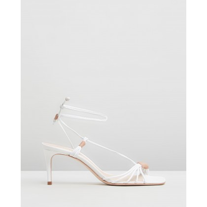 Strappy Square Toe Heels White by Schutz