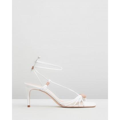 Strappy Square Toe Heels White by Schutz