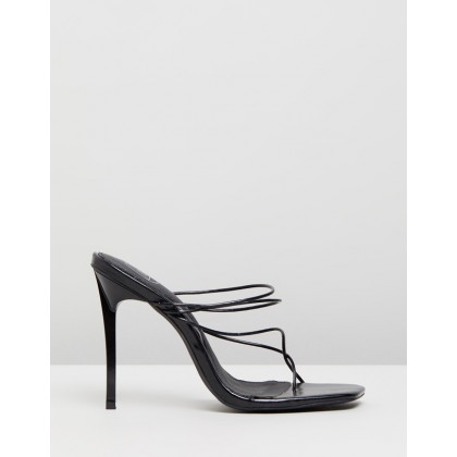 Strappy Toe Post Mules Black by Missguided